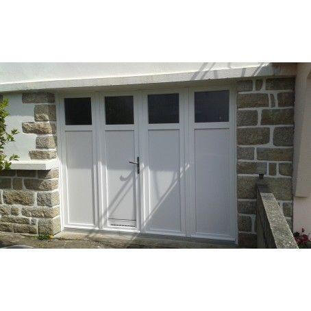 Porte De Garage Battante A 4 Vantaux Poignee Aspect Inox Et Grille De Ventilation Teinte Blanc Porte Garage Garage Portes