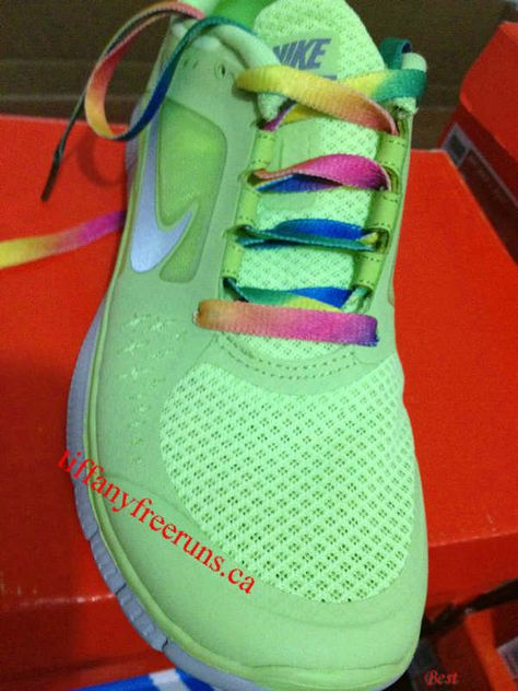 quality design 6dde7 718c6 Womens Nike Free Runs 3 Liquid Lime Reflective Silver Pro Platinum Volt  Rainbow Lace Shoes