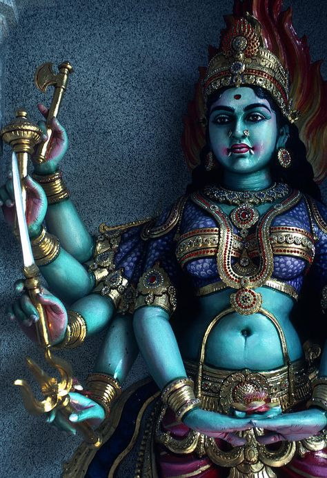 Hindu Goddess Kali On Hindu Temple by Carl Purcell