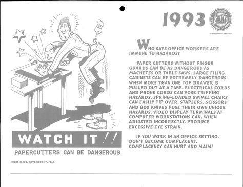 1993 safety calendar, by the Oregon Department of Forestry