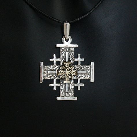 Gold  and silver Jerusalem Christian Cross on black leather necklace, made in Israel.