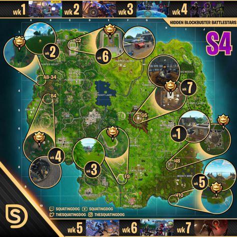 all secret battlestar locations map for season 4 in fortnite battle royale - where are all the battlestars in fortnite battle royale
