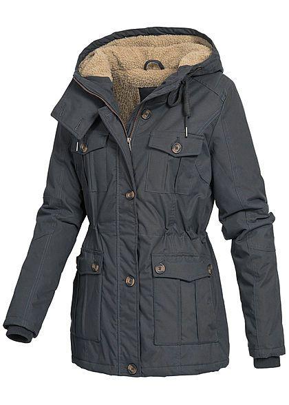 Seventyseven Damen Winter Jacke Kapuze Teddyfell 6 Taschen