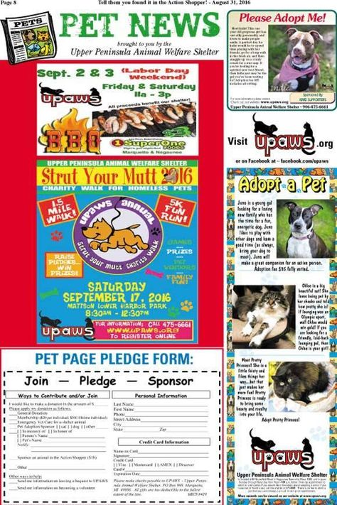 All paws ready for UPAWS 10th Strut Your Mutt - Upper Peninsula ABC - pledge form