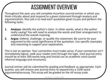 Assertion Journal Ultimate Bundle Rhetorical Analysis And