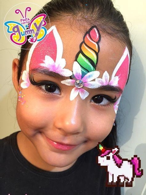Simple Easy Unicorn Face Paint : simple, unicorn, paint, Painting, Princesses, Ideas, Painting,, Unicorn,, Halloween