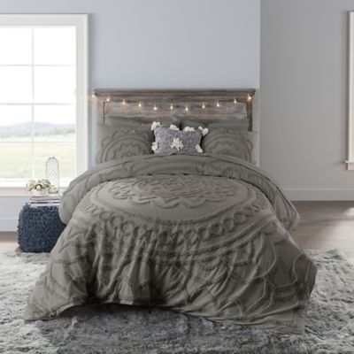 Anthology Tufted Medallion Twin Xl Comforter Set In Grey Bedroom