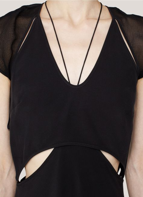 Black cutout dress - contemporary fashion design, sporty fashion details // T by Alexander Wang