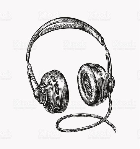 Handdrawn Vintage Headphones Sketch Music Vector Illustration ...