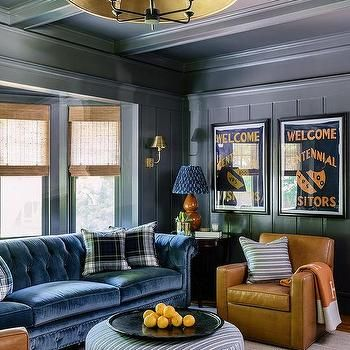 Blue Paneled Den With Bay Window Sofa Chesterfield Sofa Living Room Living Room Sofa Boston Interior Design