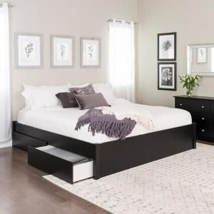 Prepac Select Espresso King 4 Post Platform Bed With 2 Drawers