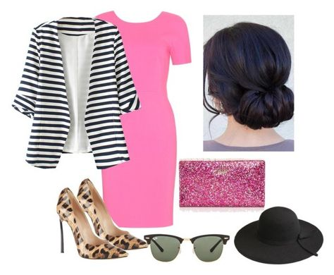 """""""Pink Striped Leopard."""" by smefford on Polyvore featuring Emilio Pucci, WithChic, Casadei, Ray-Ban, Kate Spade, women's clothing, women, female, woman and misses"""