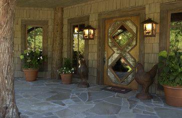beautiful front entrance; note floor, detail on door, light fixtures....   Adirondack Style Boathouse