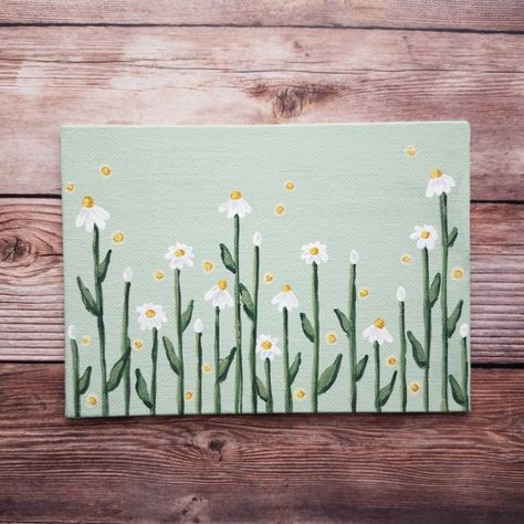 Small Canvas Paintings, Flower Painting Canvas, Daisy Painting, Easy Canvas Art, Small Canvas Art, Cute Paintings, Mini Canvas Art, Simple Flower Painting, Green Paintings