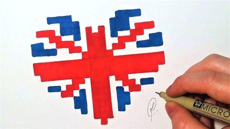 Drapeau Anglais Coeur Pixel Art Facile Youtube Avec