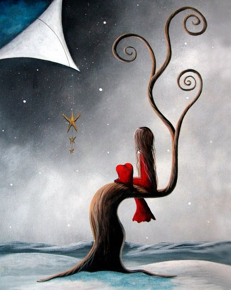winter art prints, surrealism art, fantasy art, snowy landscapes, pretty snow art, girl with heart p
