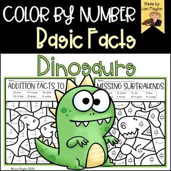 Color By Number- Dinosaur Themed Basic Facts