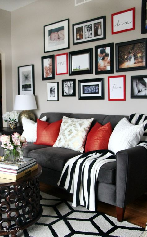 How To Update Your Gallery Wall For Valentine S Day On A Budget This Is Our Bliss Red Living Room Decor Black Living Room Decor Silver Living Room