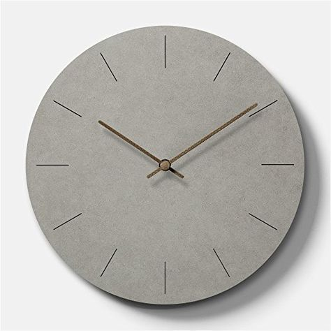 Simple Modern Concrete Feel Wooden Round Wall Clock 11 Inch Clock Wall Clock Wall Clock Modern