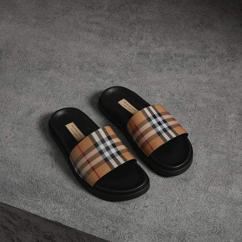 a9b6d4f5db96 Vintage Check and Leather Slides in Antique Yellow - Women