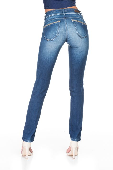 1631a1d9b7b Jeans Secret Push In effect with high waist and faux leather details |  117277 Atlantic blue | Salsa