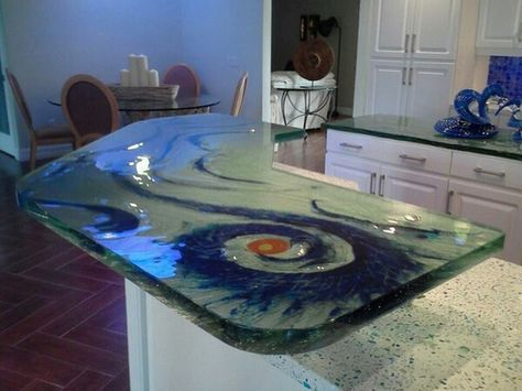 Color Me Lovely Decorative Glass In The Kitchen Glass Countertops Glass Shelves Custom Glass