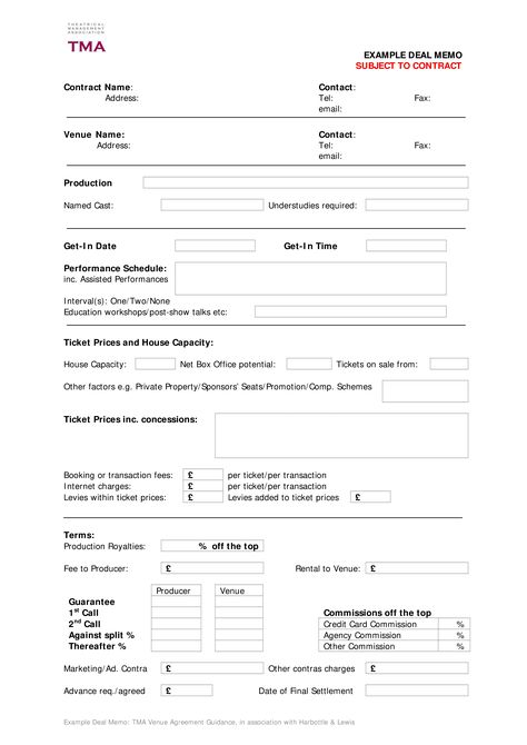 Contract Deal Memo Template - Download this Contract Deal Memo - booking agent contract template