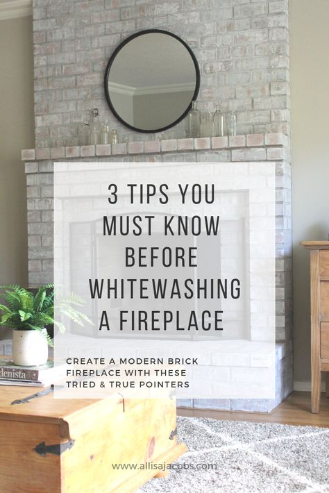 3 Tips for Creating a Modern Whitewashed Fireplace - allisa jacobs - - 3 tips for creating a whitewashed brick fireplace for a modern, updated living room space including important information about how to whitewash brick. White Wash Brick Fireplace, Painted Brick Fireplaces, Fireplace Update, Paint Fireplace, Brick Fireplace Makeover, Home Fireplace, Fireplace Design, Fireplace Ideas, Fireplace Garden