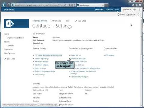 How to Create a SharePoint 2013 List Template - SharePoint 2013 Tutorials