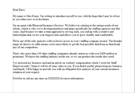 Sales Prospecting Letter - For a sales person that is writing - business sales letter