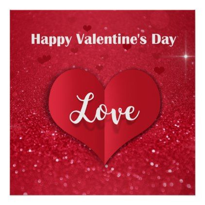 Valentine S Day Red Paper Heart Glitter Poster Zazzle Com