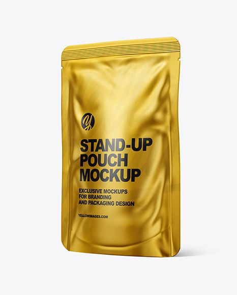 Metallic Stand Up Pouch Mockup In Pouch Mockups On Yellow Images Object Mockups Mockup Food Pack Pouch