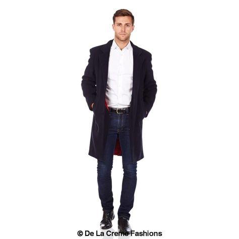 De La Creme MAN - Wool & Cashmere Blend Formal Security Overcoat - Navy / M (42) / Xmas Assorted
