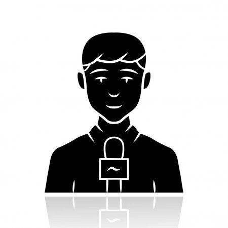Reporter Man Drop Shadow Black Glyph Icon Tv Presenter Interviewer With Microp Affiliate Shadow Black Dro Glyph Icon Vector Illustration Drop Shadow