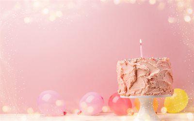 تحميل خلفيات عيد ميلاد سعيد الوردي كعكة عيد ميلاد المعجنات شمعة 1 سنة المفاهيم كعكة على خلفية الوردي Besthqwallpapers Com Pink Birthday Cakes Pink Birthday Happy Birthday Wallpaper