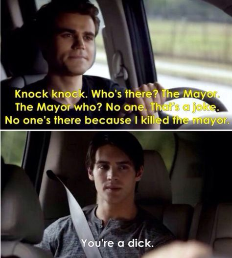 """HAHA :"""") This was actually so funny - Silas and his knock knock joke - The Vampire Diaries"""