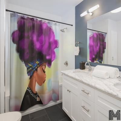 Afro Girl Shower Curtain In 2020 Afro Shower Curtain Girl