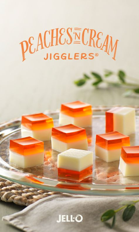 This classic dessert duo is jiggling to be your newest favorite treat. Peaches 'n Cream JIGGLERS are easy to make too. Add JELL-O Peach Flavor Gelatin and sweetened condensed milk to your shopping lis (Favorite Desserts Condensed Milk) Kraft Recipes, Summer Dessert Recipes, Just Desserts, Jello Deserts, Yummy Treats, Sweet Treats, Jello Jigglers, Jello Gelatin, Jello Recipes