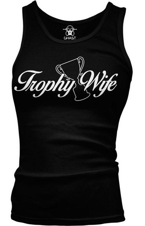 47ee321ddd7e69 Trophy Wifelywed Married Funny Humor Joke Gag Gift Boy Beater Tank Top