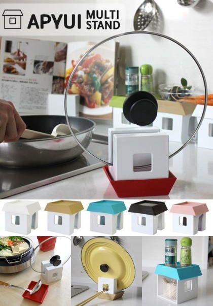 お家型のキッチンマルチスタンド 鍋フタ お玉 お菜箸置きに小物入れ