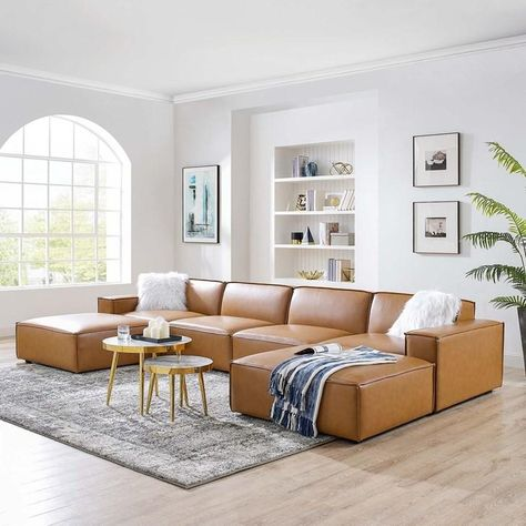 Tan Leather Sectional, Leather Sectional Sofas, 3 Piece Sectional Sofa, 3 Piece Sofa, Living Room Sets, Tan Sofa Living Room Ideas, Living Room Sofa Design, Lounge Areas, Living Room Sectional