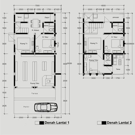 gambar denah rumah dan toko 2 | denah rumah, lantai, ruko