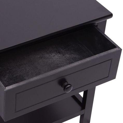 ZNTS Bedside Cabinets 2 pcs Wood Black 242873