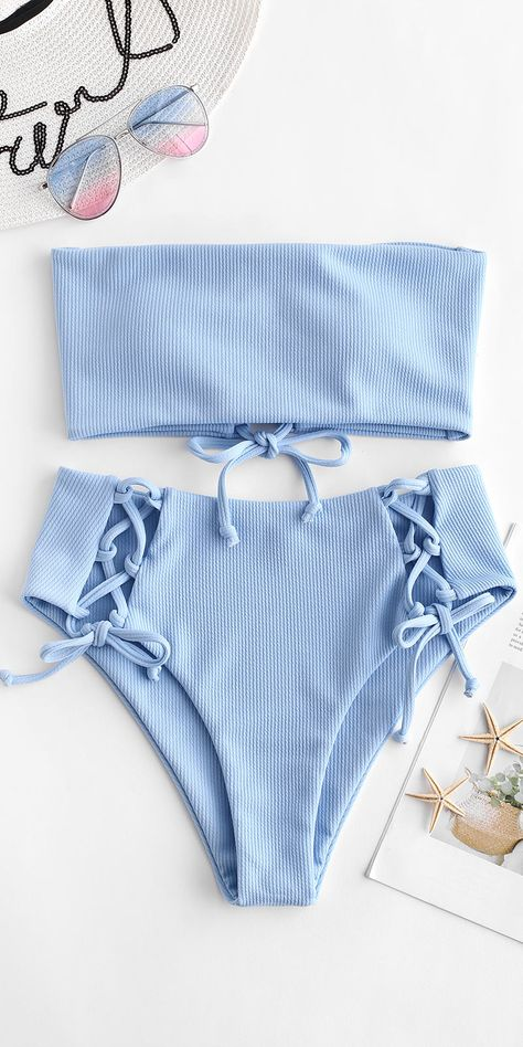 Cute baby blue bikinis swimsuit to try this summer