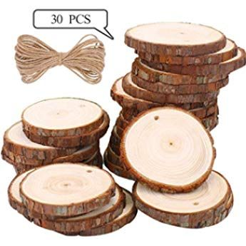 Ticiosh 50 Pcs Wood Slices 6 7 Cm Natural Wood Slices Drilled Hole Unfinished Log Wooden Circles For Diy Crafts Wedding Decorations Christmas Ornaments Keramikh