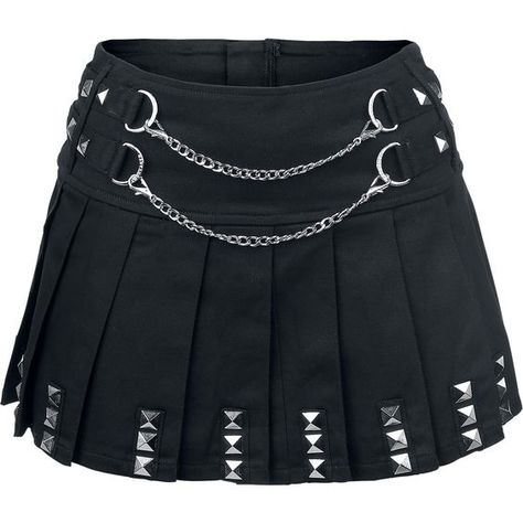 Studded pleated warrior skirt w/ chains