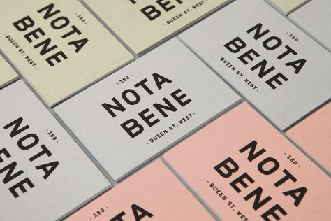 Brand identity and business cards for Toronto restaurant Nota Bene by graphic design studio Blok, Canada