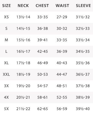 Mens Shirt Measurement Chart Mens Shirts Mens Shirt Pattern Clothing Size Chart