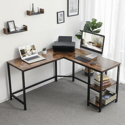 Williston Forge Work in style let your desk look as good as your work with this computer desk featuring a metal frame and rustic tabletop and shelves. This L-shaped corner desk will fit into nearly any office in need of a space-saving alternative to overly bulky desks. Use it for work, writing, studying, gaming, or whatever brings joy to your day. No more wobbles say goodbye to small annoyances. The adjustable feet ensure that your corner desk is stable and won't wobble with every stroke of your Home Office Furniture Desk, Home Office Space, Home Office Desks, Office Workspace, Corner Office Desk, Modern Corner Desk, Rustic Office Desk, Modern Office Desk, Cool Office Decor