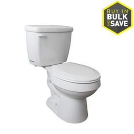 Project Source High Efficiency White Watersense Labeled Round Standard Height 2 Piece Toilet 12 In Rough In Size Water Sense Toilet Shower Fixtures